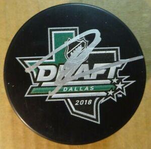 Autographed JESPERI KOTKANIEMI Signed 2018 NHL DRAFT Hockey Puck Canadiens