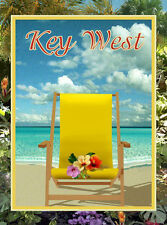 Key West Beach Chair -Vintage Art Deco Style Travel Poster-by Aurelio Grisanty