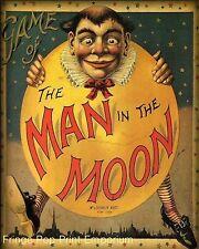 Man in the Moon Art Print 8 x 10 - Victorian Edwardian Art Nouveau - Storybook