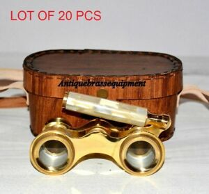 Antique brass classic opera glasses mother of pearl binocular with leather case