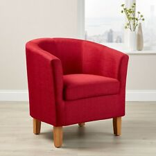 Tub Chair Wooden Legs Fabric Faux Leather Armchair Office Reception Seats