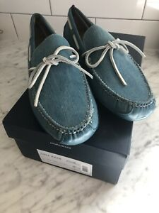 Cole Haan Grant Canoe Camp Moccasins Denim Mens 9.5 Atlantic canvas NEW