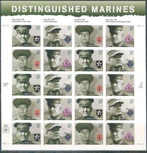 Distinguished Marines Sheet of Twenty 37 Cent Postage Stamps Scott 3961-64
