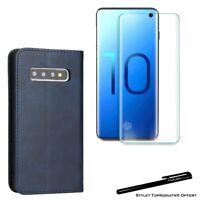 Etui portefeuille Bleu pour Samsung S10 Housse protection + Verre trempé 3D