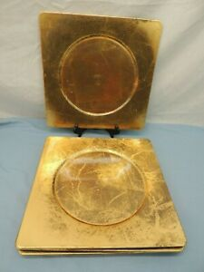 "SQUARE GOLD PLATES CHARGERS 12.25"" x 12.25"" GOLD LEAF ON ACRYLIC"