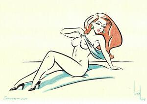 original drawing A4 691KV art samovar modern marker female nude illustration