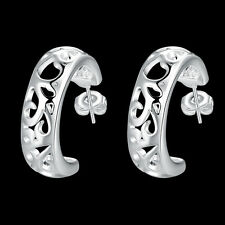 Xmas Gift 925 Silver Solid Silver Hollow Carved Flower Woman Earrings EB630