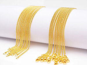 5PCS 28inch Jewelry 18K Yellow Gold Filled Chain Flat Curb Necklaces For Pendant