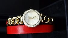 Marc Ecko E12593L2 Red Double Wrap Leather Band Gold Tone Chain Women's Watch