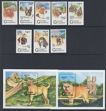 DOGS : GRENADA GRENADINES 1993 Dogs set + Min sheets(2) SG1587-1594+MS1595 MNH