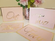 Table cards/numbers for wedding. Pink and gold foil New.blush pink pastel