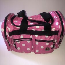 Rockland Duffle Travel Carryon Luggage Bag Pink White Polka Dots Med Size