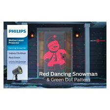 Philips Christmas Motion Laser Projector Red Dancing Snowman & Green Dots~5629