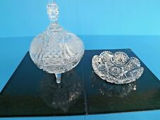 2~Vtg CRYSTAL CUT GLASS CANDY DISHES~ 1 LARGE w/LID~3 FOOTED,  1 ROUND+SCALLOPED