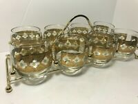 8 VTG Mid Century Culver Green & Gold Valencia Roly Poly Glasses MCM + Carrier