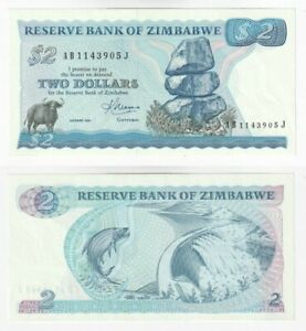 ZIMBABWE 2 Dollars Banknote (1983) P.1b - UNC.