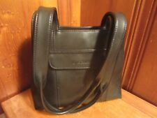 Liz Claibourne Handbag Purse Soft Black Vinyl Pocketbook 2 Zippered Pockets