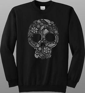 Floral Skull Design Sweatshirt Gothic Goth Jumper Sweat Pullover Gym Workout Top