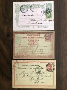 3 X TURKEY OLD POSTCARD COLLECTION LOT CONSTANTINOPEL TO BELGIUM GERMANY 1889 !!