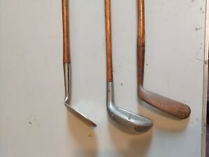 Hickory shafted golf clubs X 3
