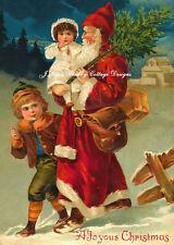 Vintage Santa & Children Postcard Print on Cotton Fabric Block 5x7 or 8x10 Inch