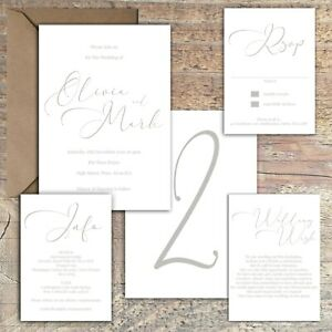 Personalised Luxury Modern Wedding Invitations GREY & WHITE Stylish PK 10