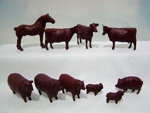 Vintage Marx Farm Playset Prize Livestock Complete Burgundy Set
