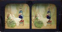 La Convalescente Scena Da Genere Fotografia Colorati Diorama Stereo Vintage