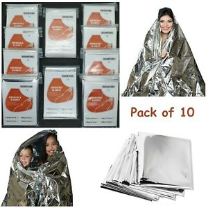 10 Pack Emergency Foil Blanket First Aid Camping Sensory Aid Size 2.1m x 1.3m