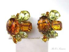 "Vintage JULIANA D&E Foiled ART GLASS CAB & Topaz Rhinestone Clip Earrings 1 1/2"""