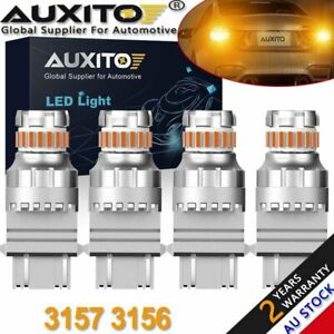 2PAIR AUXITO 3157 3156 23SMD LED AMBER Indicator Turn Signal Light Bulb 2400LM