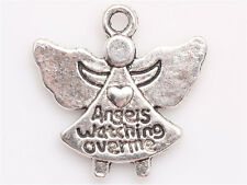 10/100 Pcs Tibetan silver Angel watching over me Wings Charms Pendants 19*19mm
