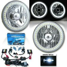 """5-3/4"""" White SMD LED Halo Crystal Clear Glass H4 Headlight & 6k HID Bulb Pair"""