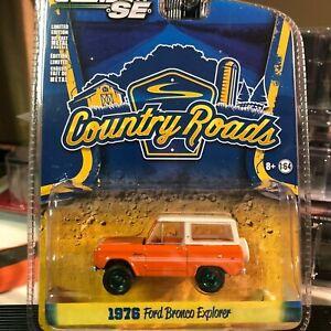 1/64 GREENLIGHT COUNTRY ROADS 1976 FORD BRONCO RANGER ORANGE GREEN MACHINE CHASE