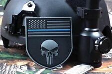 Sniper Punisher 3D Gray Skull FLAG On SHIELD w/ Thin Blue Line SWAT PVC PATCH
