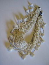 Vintage Woven White Seed Beads Necklace? With Pear Shaped White Glass Beads
