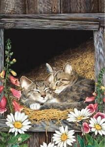 """Cats by Jane Madday  -""""TREE FREE"""" GREETING CARD"""