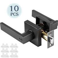 Privacy Door Handles 10 Pack Door Lever Lock Set Square Door Knobs Matte Black