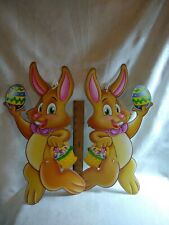 2 Easter Bunny Rabbit Jointed Paper Figure Wall Decoration Beistle 2005