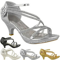 Womens Ladies Low Heel Diamante Bridal Wedding Sandals Strappy Party Shoes Size