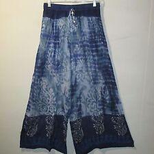 Pants Fits M L XL 1XL 1X Boho Blue Paisley Wide Leg Hippy Soft Rayon NWT G026