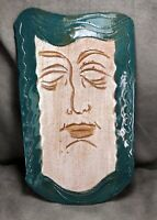 Handmade Studio Pottery Clay Folk Art Mask Face Signed Etched Trump Caricature