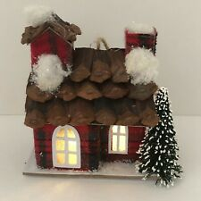 """New Lighted Red & Green Plaid House Christmas Tree Ornament 4"""" Battery Included"""