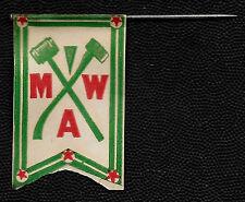 Early 1900's Modern Woodmen of America MWA Mini Paper Flag on Pin