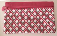 IPSY Makeup Bag Cosmetic Case Pink White Gray Diamond  February 2015