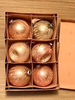+ 6 Vtg. Christmas Tree Mercury Blown Glass Shiny Brite Ornaments 1950's/60's +
