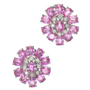 Gorgeous Oval Cut Pink Sapphire & White CZ 11.40CT Women's Cluster Stud Earrings