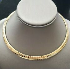 Gold Over Sterling Silver 925  Omega Necklace 10MM WIDE 32.0 GRAMS 17""