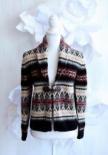 SUSAN BRISTOL Shawl Cardigan Sweater Sz M Wool Nordic Fair Isle Beige/Red LS