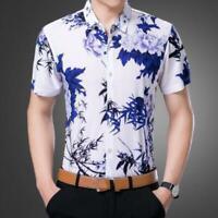 Fashion Men's Summer Tops Casual Dress Shirt Mens Floral Short Sleeve Shirts Sz